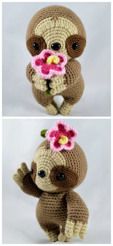Amigurumi Hibiscus the Sloth Crochet Pattern - Crochet #Sloth; #Amigurumi; Toy Softies Patterns