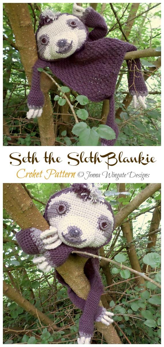 Amigurumi Seth the Sloth Blankie Crochet Pattern - Crochet #Sloth; #Amigurumi; Toy Softies Patterns