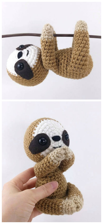 Amigurumi Sammy the Sloth Crochet Pattern - Crochet #Sloth; #Amigurumi; Toy Softies Patterns
