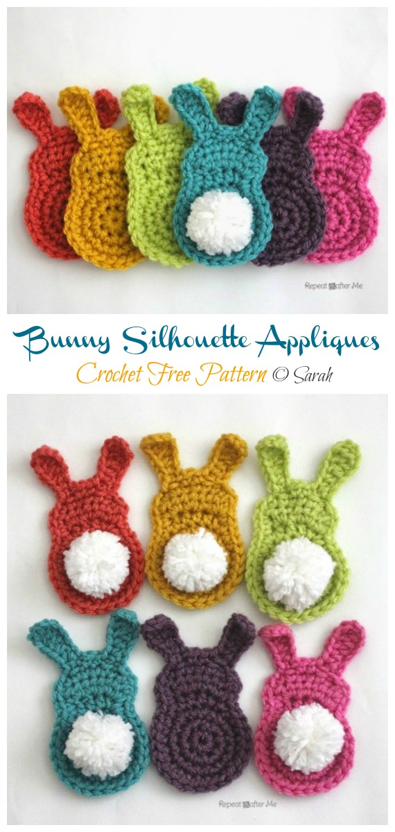 Bunny Silhouette Appliques Crochet Free Pattern - #Crochet; Bunny #Applique; Free Patterns