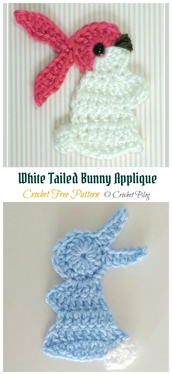 White Tailed Bunny Applique Crochet Free Pattern - #Crochet; Bunny #Applique; Free Patterns