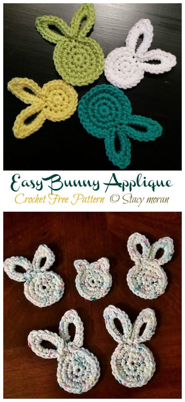 Easy Bunny Applique Crochet Free Pattern - #Crochet; Bunny #Applique; Free Patterns