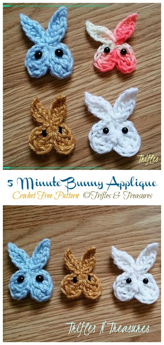 5 Minute Bunny Applique  Crochet Free Pattern - #Crochet; Bunny #Applique; Free Patterns