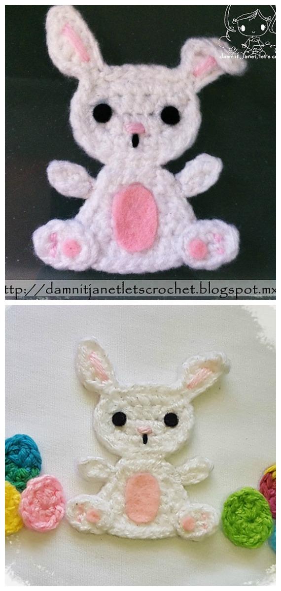 Bunny Applique Crochet Free Pattern - #Crochet; Bunny #Applique; Free Patterns