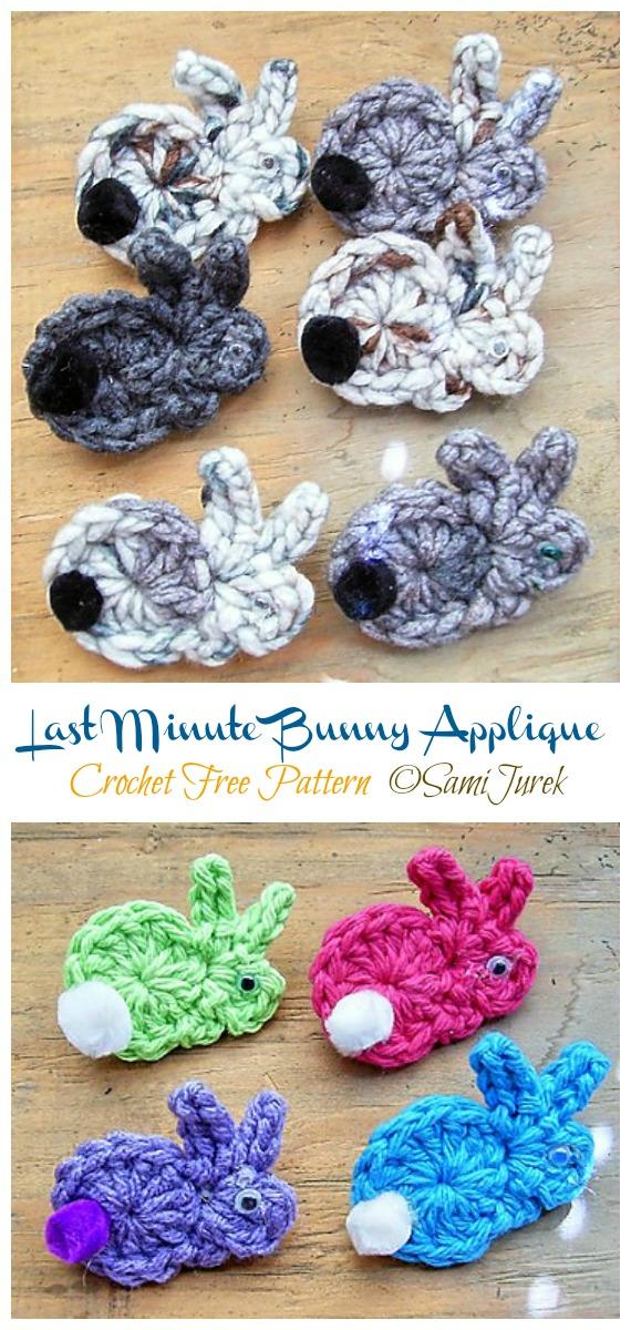 Last Minute Bunny Applique Crochet Free Pattern - #Crochet; Bunny #Applique; Free Patterns