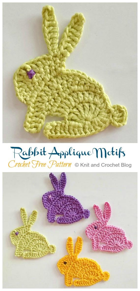 Bunny Rabbit Applique motifs Crochet Free Pattern - #Crochet; Bunny #Applique; Free Patterns