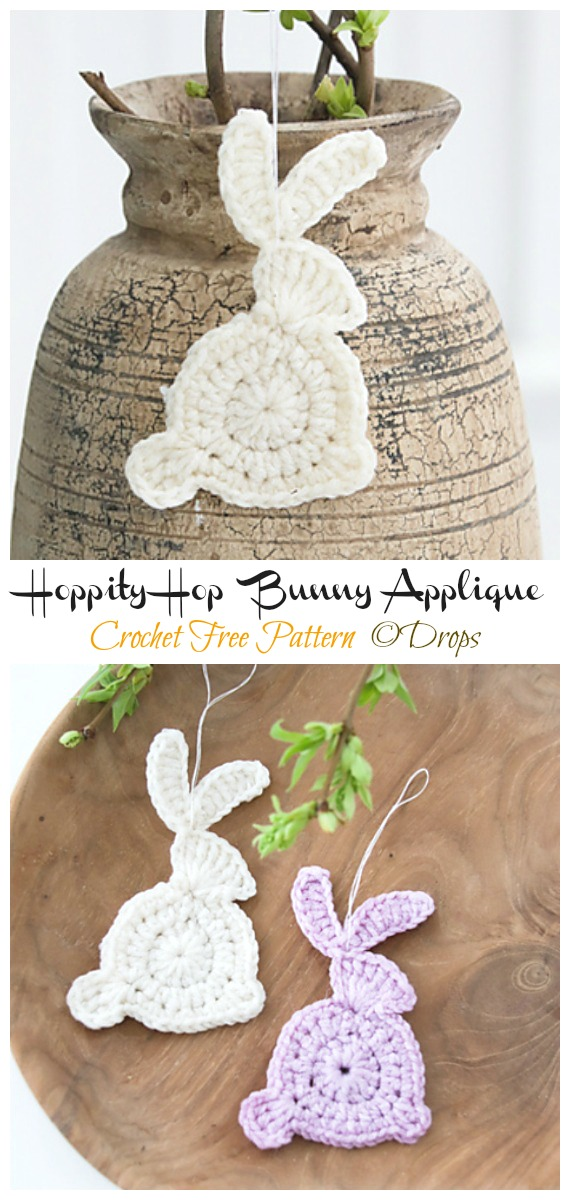 Hoppity Hop Bunny Applique Crochet Free Pattern - #Crochet; Bunny #Applique; Free Patterns