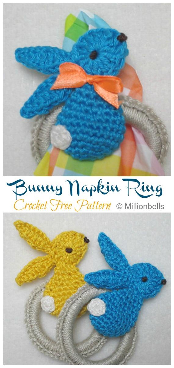 Bunny Napkin Ring Crochet Free Pattern - #Crochet; Bunny #Applique; Free Patterns