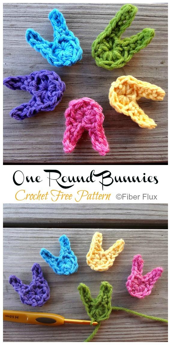 One Round Bunnies Crochet Free Pattern - #Crochet; Bunny #Applique; Free Patterns
