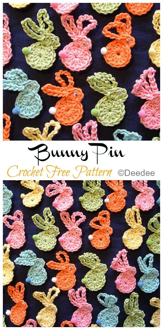 Bunny Pin Crochet Free Pattern - #Crochet; Bunny #Applique; Free Patterns