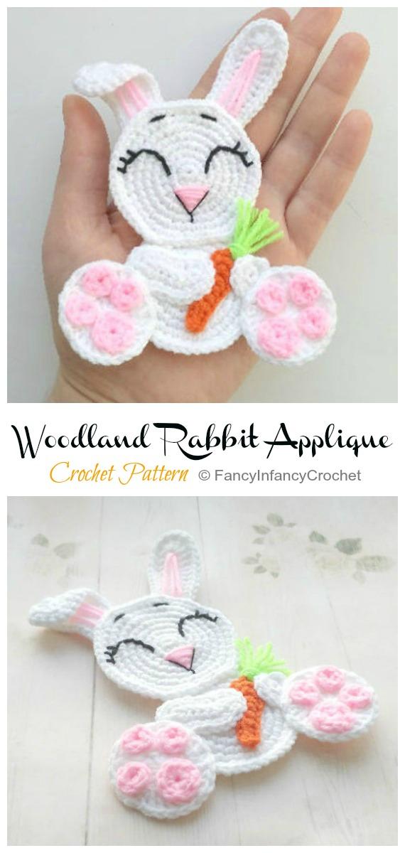 Woodland Rabbit Applique Crochet Pattern - #Crochet; Bunny #Applique; Patterns