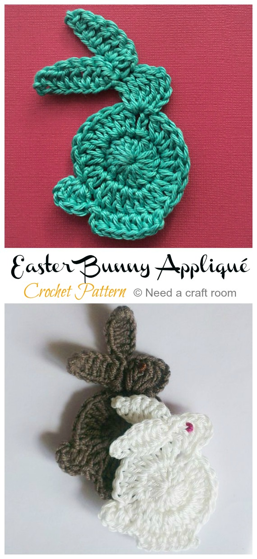 Easter Bunny Appliqué Crochet Pattern - #Crochet; Bunny #Applique; Patterns