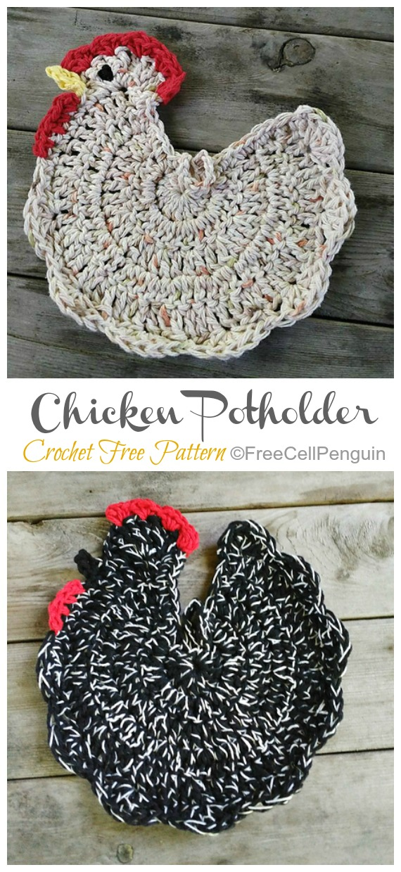 Crochet Chicken Potholder Free Pattern&Video - Easter #Crochet; Chicken #Potholder; Free Patterns
