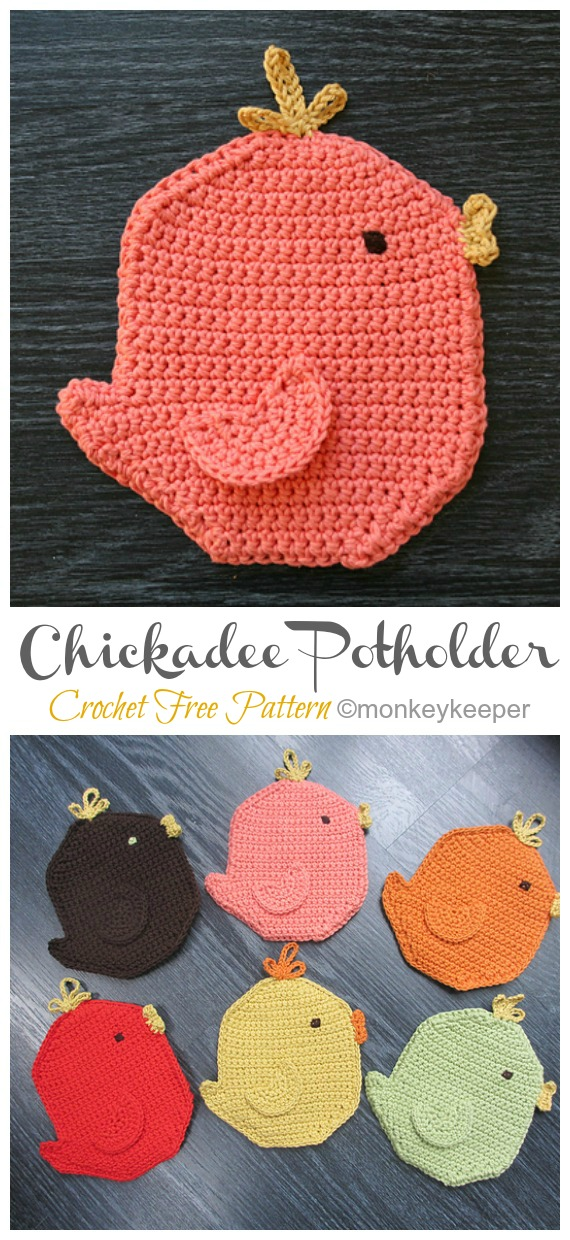 Momma Chickadee Potholder Crochet Free Pattern - Easter #Crochet; Chicken #Potholder; Free Patterns