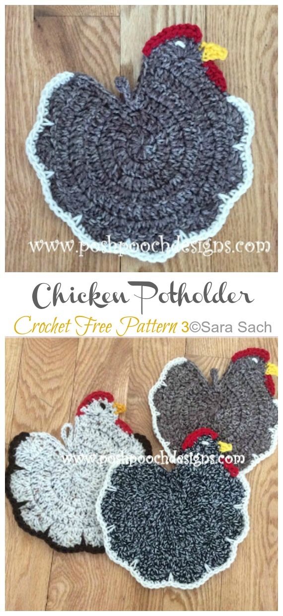 Chicken Pot Holder Crochet Free Pattern - Easter #Crochet; Chicken #Potholder; Free Patterns