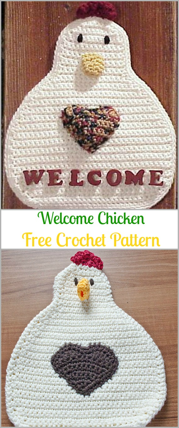 Crochet Welcome Chicken Free Pattern - Easter #Crochet; Chicken #Potholder; Free Patterns