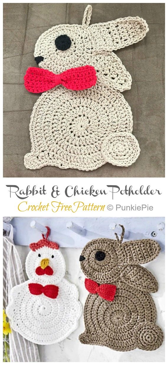 Rabbit and Chicken Potholder Crochet Free Pattern - Easter #Crochet; Chicken #Potholder; Free Patterns