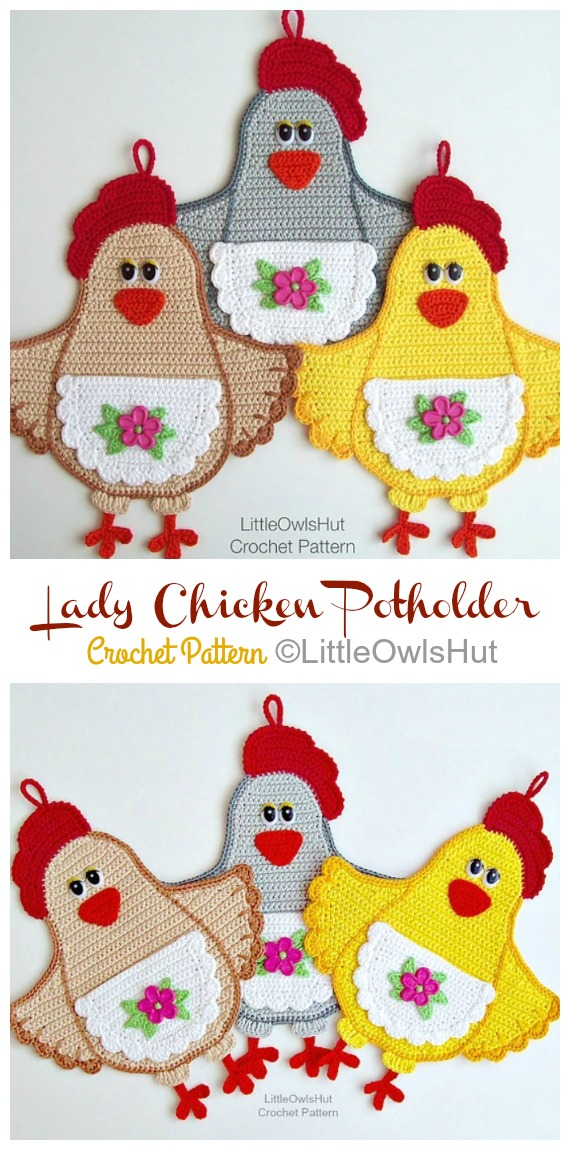 Lady Chicken potholder Crochet Pattern - Easter #Crochet; Chicken #Potholder; Free Patterns