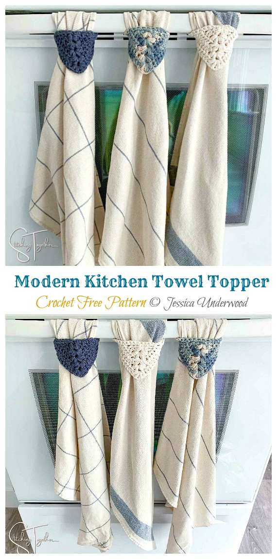 Modern Kitchen Towel Topper Crochet Free Pattern - #Towel; Topper Free #Crochet; Patterns