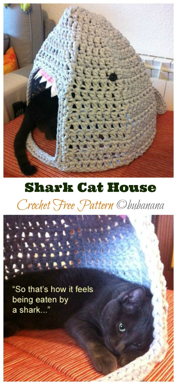 Shark Cat House Crochet Free Pattern - Cat House & Nest Free #Crochet; Patterns