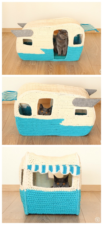 T-shirt Yarn Cat Camper Cave Crochet Pattern - Cat House & Nest Bed #Crochet; Patterns