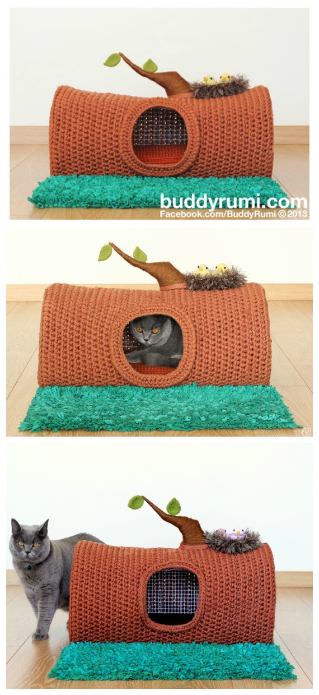 Tree Log Cat Cave House Crochet Pattern - Cat House & Nest Bed #Crochet; Patterns