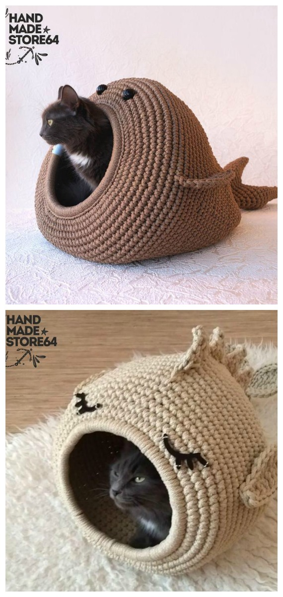 Whale Fat Bed Crochet Pattern - Cat House & Nest Bed #Crochet; Patterns