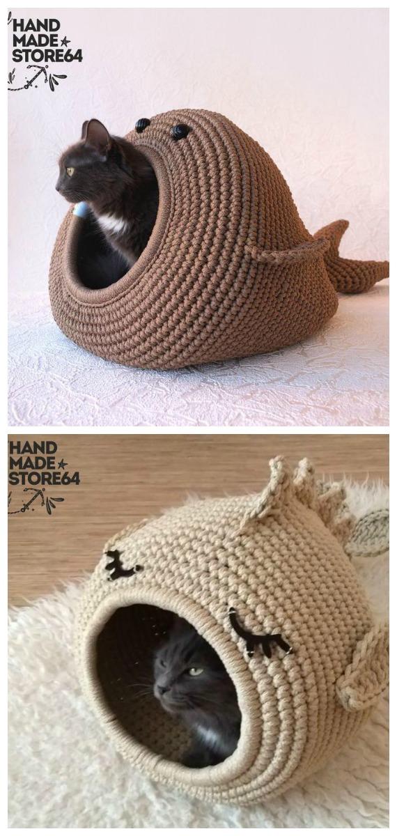 Whale Fat Bed Crochet Pattern - Cat House & Nest Bed #Crochet; Patterns