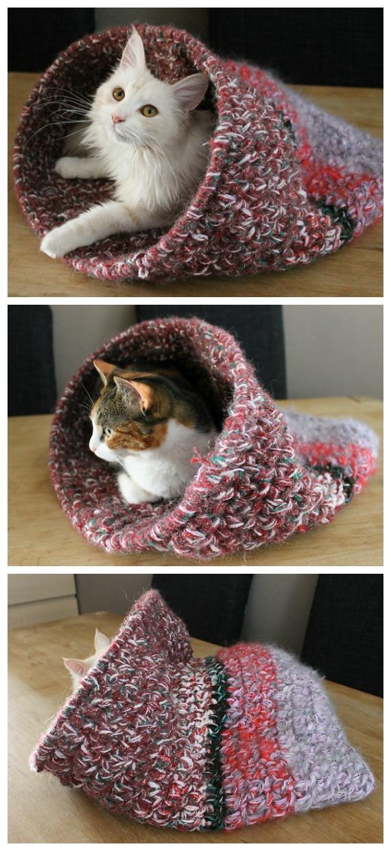 Cat cave Free Crochet Pattern - Cat House & Nest Bed #Crochet; Patterns