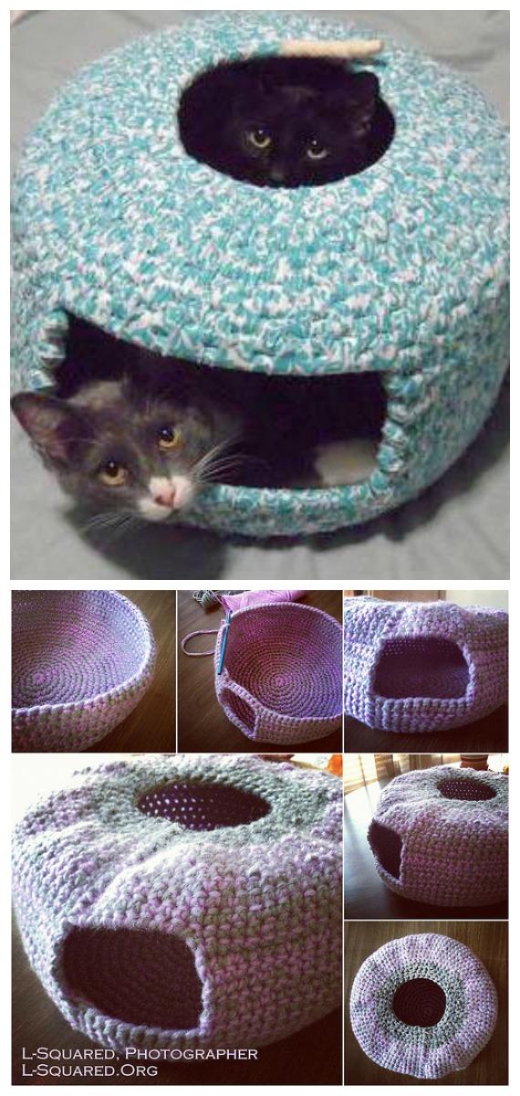 Cute Cat Nest Bed Free Crochet Pattern - Cat House & Nest Bed Free #Crochet; Patterns