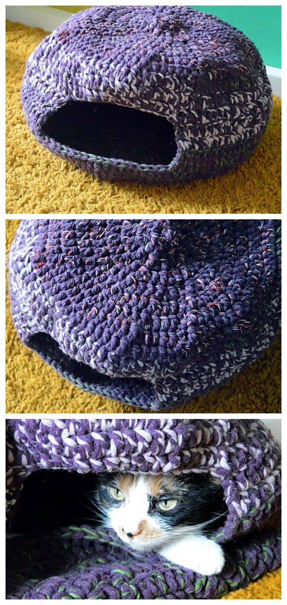 Pixie Cat Cave Free Crochet Pattern - Cat House & Nest Bed #Crochet; Patterns