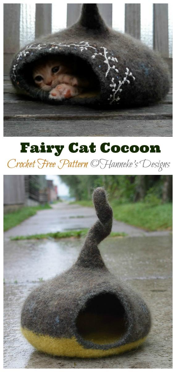 Fairy Cat Cocoon Free Crochet Pattern - Cat House & Nest Bed Free #Crochet; Patterns