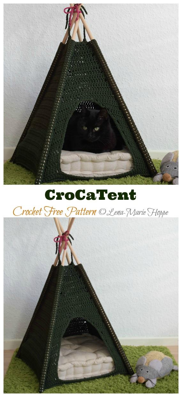 CroCaTent Cat Tent Free Crochet Pattern - Cat House & Nest Bed Free #Crochet; Patterns