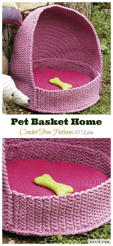 Pet Basket Home Free Crochet Pattern - Cat House & Nest Bed Free #Crochet; Patterns