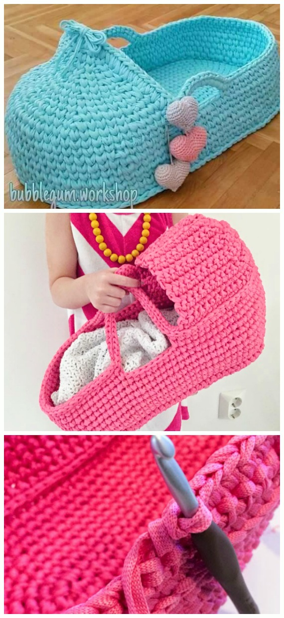 Two-Toned Knit Stitch Crochet Basket with Handles | AllFreeCrochet.com | 1240x570