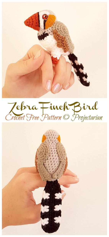 Zebra Finch Bird Amigurumi Free Crochet Pattern - Crochet #Bird; #Amigurumi Free Patterns