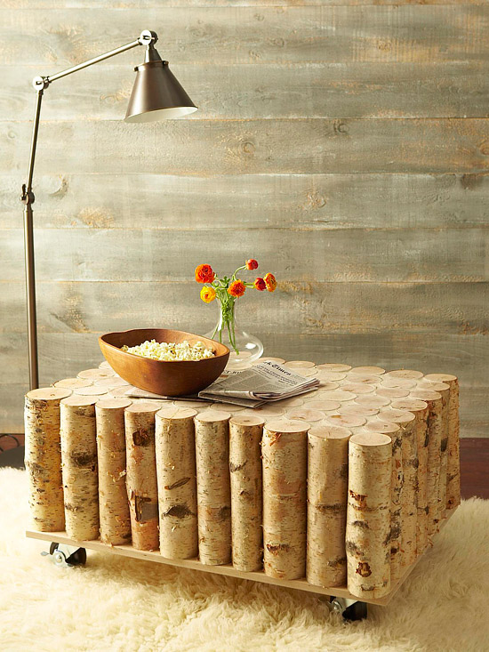 DIY Birch Tree Log Coffee Table Instructions - Raw Wood Logs and Stumps DIY Ideas Projects