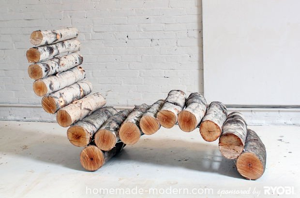DIYModern Log Lounger Instructions - Raw Wood Logs and Stumps DIY Ideas Projects