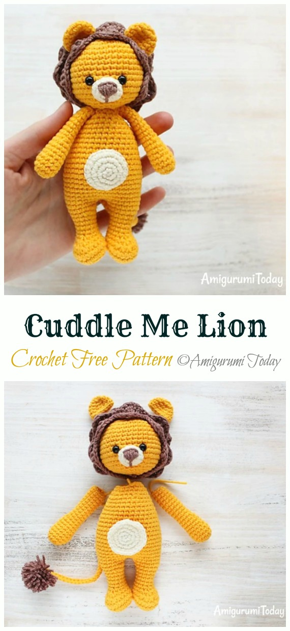 Crochet Cuddle Me Lion Amigurumi Free Pattern - #Amigurumi; #Lion; Crochet Free Patterns