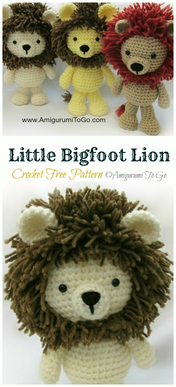 Crochet Little Bigfoot Lion Amigurumi Free Pattern - #Amigurumi; #Lion; Crochet Free Patterns