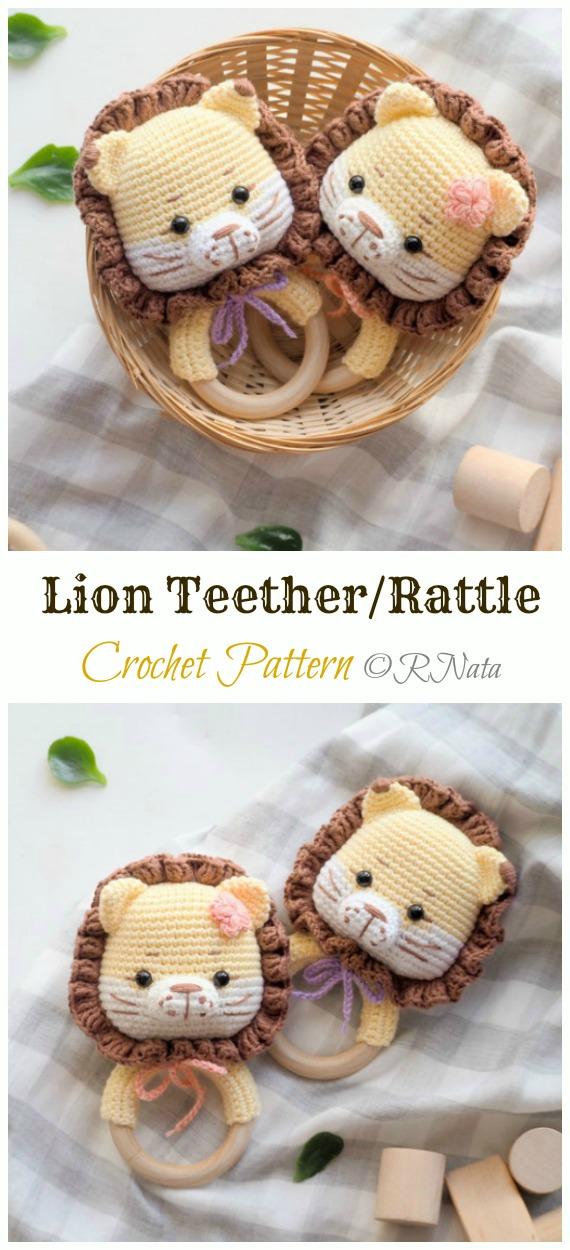 Crochet Lion Teether/Rattle Amigurumi  Pattern - #Amigurumi; #Lion; Crochet Patterns
