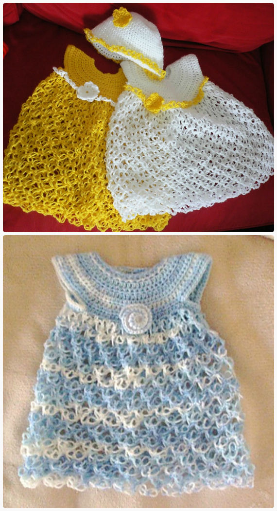Solomon Knot Dress Crochet Free Pattern- #Crochet Girls #Dress Free Patterns