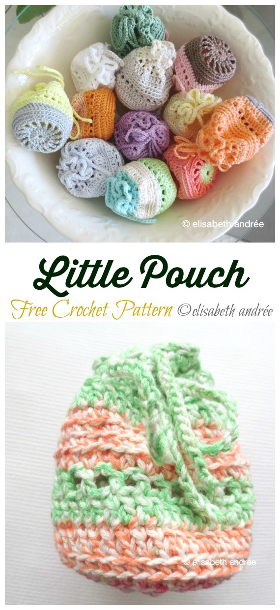 Little Pouch Drawstring Bag Crochet Free Pattern - Quick #Drawstring; Gift Bag Free #Crochet; Patterns
