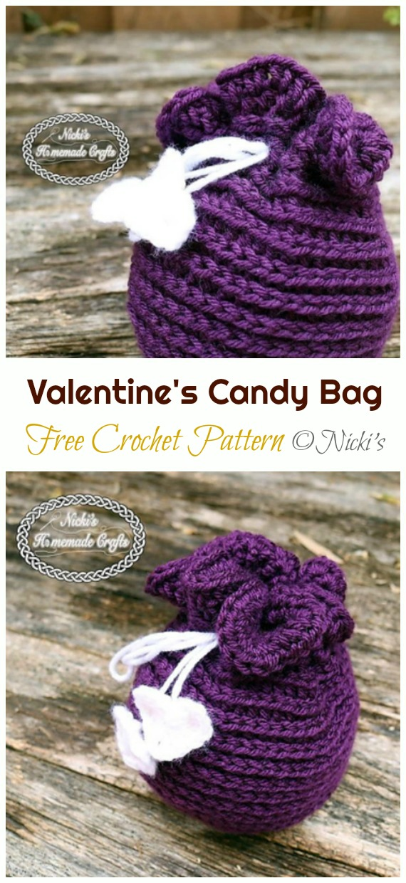 Valentine's Candy Bag Crochet Free Pattern - Quick #Drawstring; Gift Bag Free #Crochet; Patterns