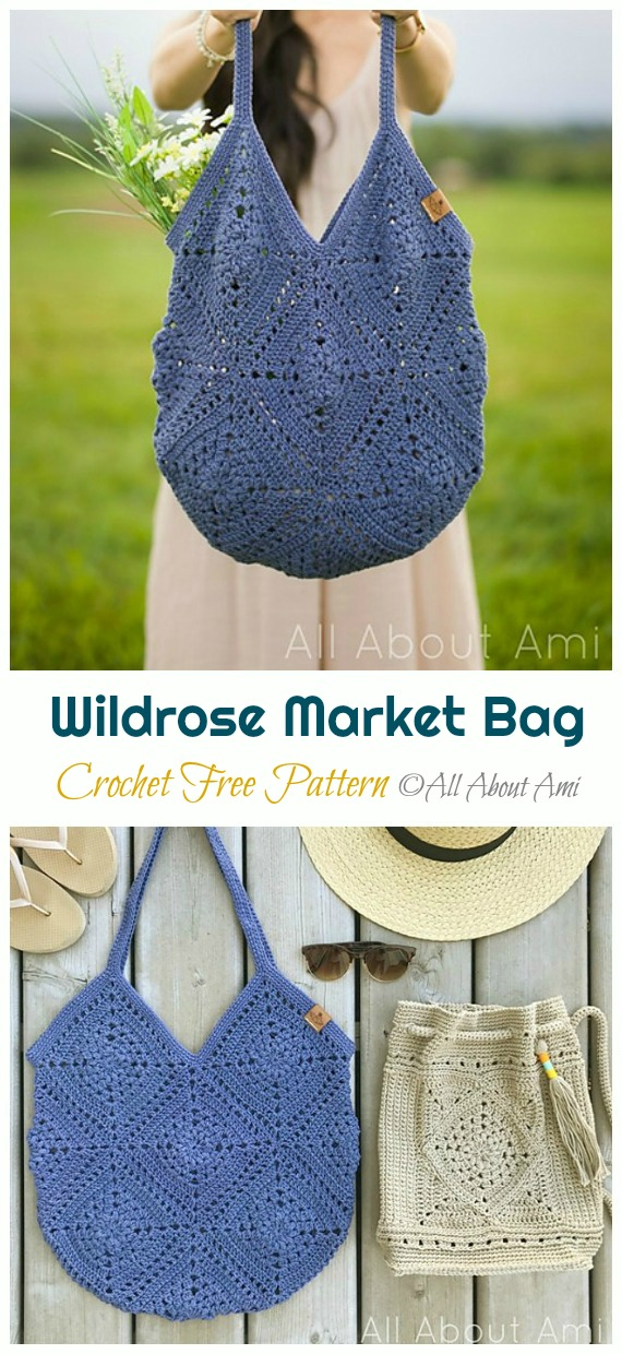 Wildrose Market Bag Crochet Free Pattern - Trendy Free Market #Bag; #Crochet; Patterns