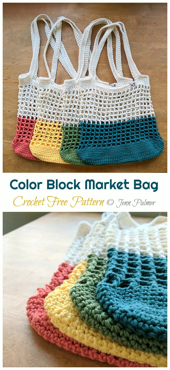 Color Block Market Bag Crochet Free Pattern - Trendy Free Market #Bag; #Crochet; Patterns