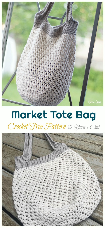 Market Tote Bag Crochet Free Pattern - Trendy Free Market #Bag; #Crochet; Patterns