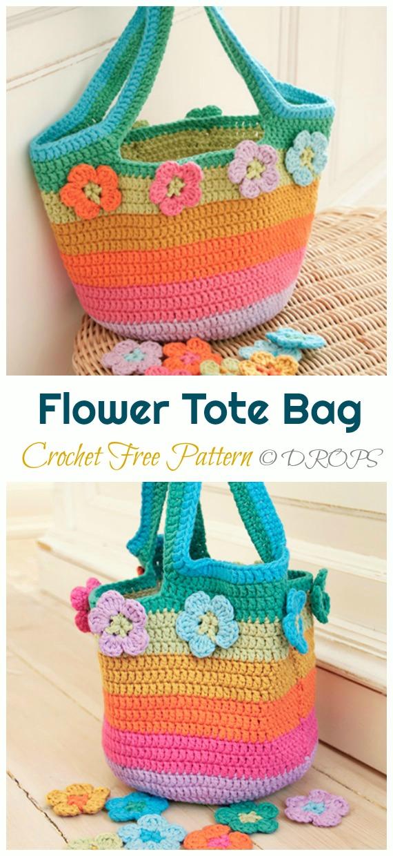 Flower Market Bag Crochet Free Pattern - Trendy Free Market #Bag; #Crochet; Patterns
