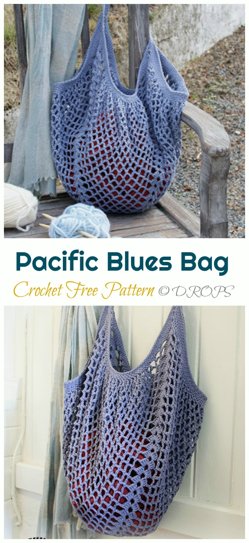 Pacific Blues Market Bag Crochet Free Pattern - Trendy Free Market #Bag; #Crochet; Patterns