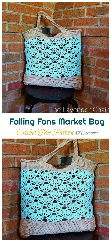 Falling Fans Market Bag Crochet Free Pattern - Trendy Free Market #Bag; #Crochet; Patterns
